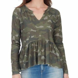 William Rast Gryphon Green Camo Peplum Top S